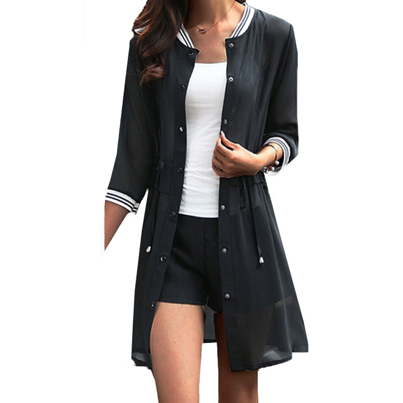 Women's Baseball Inspired Chiffon Jacket - Raen Wear