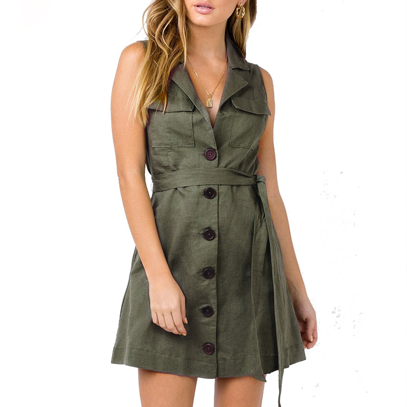 Women's Sexy Short Blazer Style Mini Dress With Belted Waist - Raen Wear