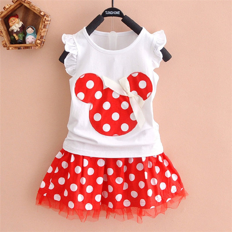 Little Girls 2 Piece Mickey Inspired Skirt Set - Raen Wear