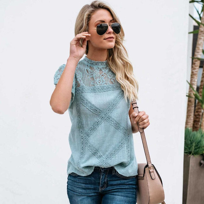 Women's Sexy Lace Short Sleeve Blouse - Raen Wear
