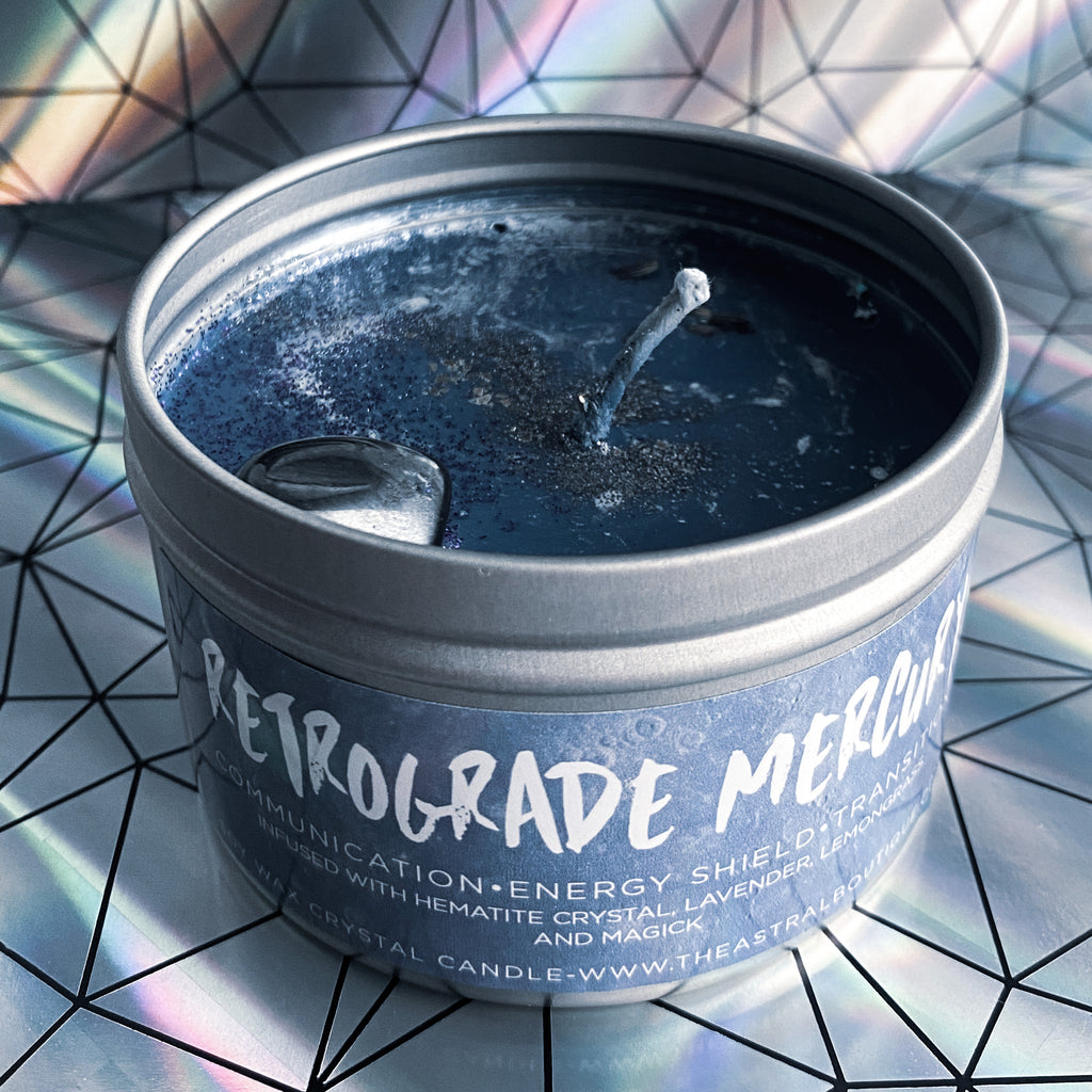 ASTRAL CANDLES - RETROGRADE MERCURY CRYSTAL CANDLE