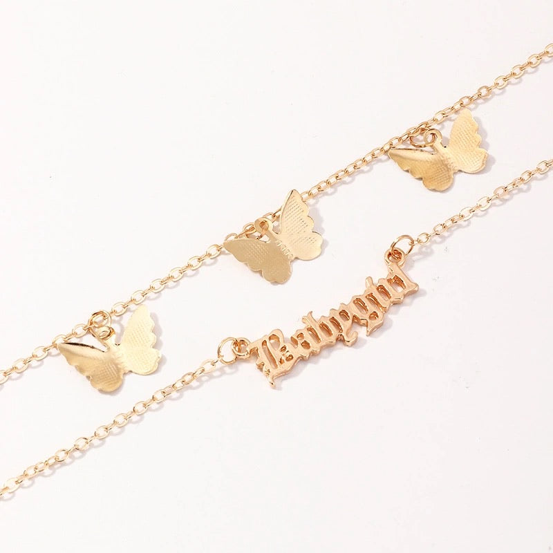 BABYGIRL BUTTERFLY COMBO NECKLACE