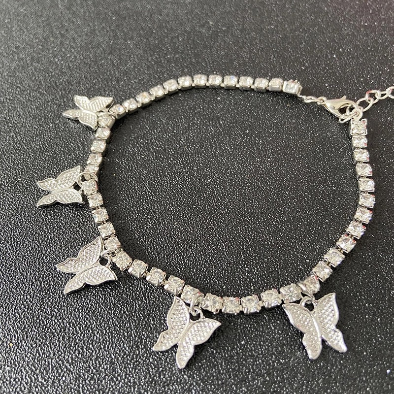 ICED OUT BUTTERFLY ANKLET