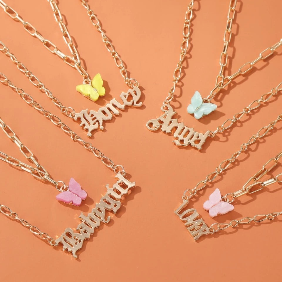 BABYGIRL , ANGEL, LOVER , HONEY LAYERED NECKLACE