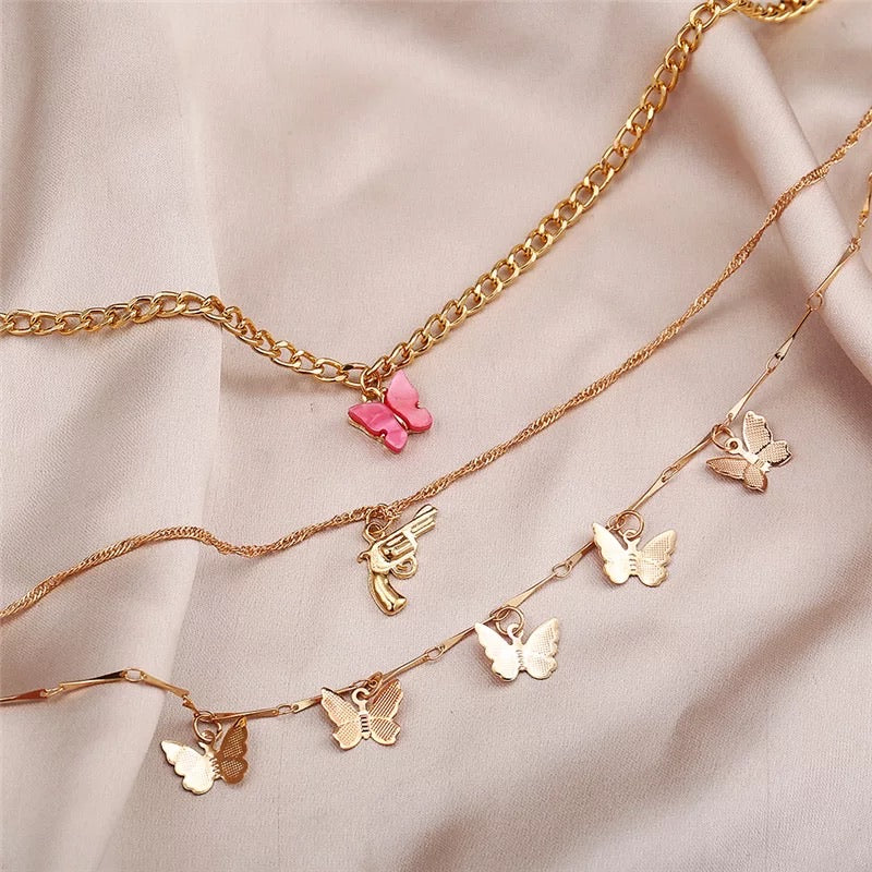 BUTTERFLY GUN LAYERED NECKLACE