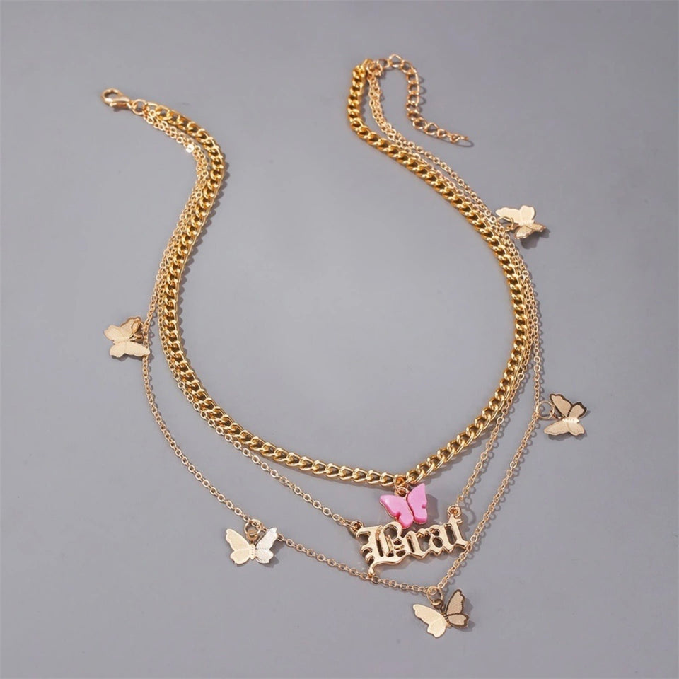 BRAT LAYERED BUTTERFLY NECKLACE