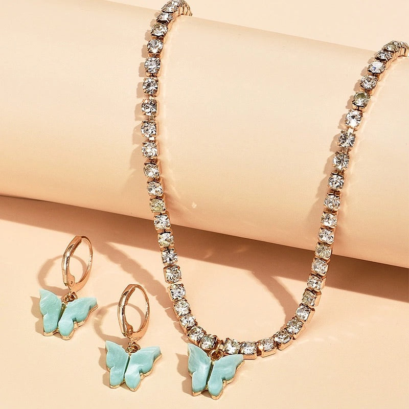 ICED BUTTERFLY NECKLACE & EARRING SET
