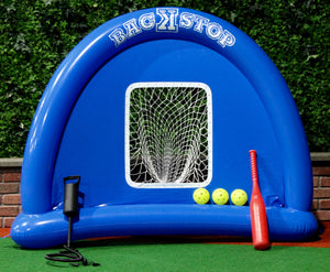 BacKstop, Pump, Big Red Bat and 3 Perforated Plastic Balls (Softball Size)