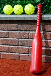 Big Red Bat and 3 Perforated Plastic Balls (Softball Size)
