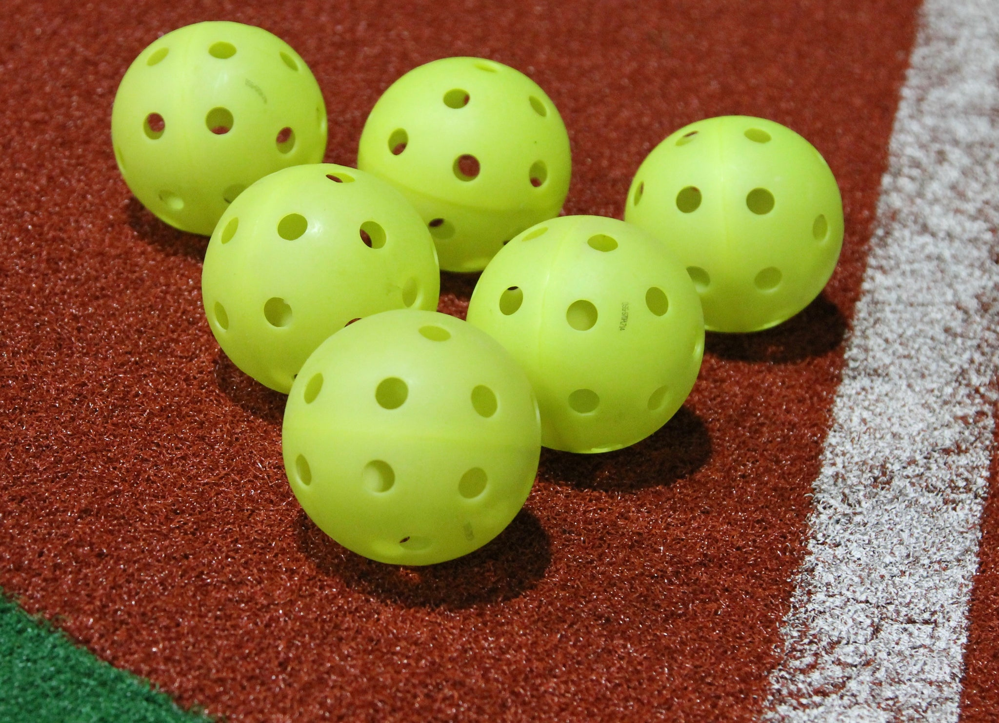 6 Perforated Plastic Balls (Softball Size)