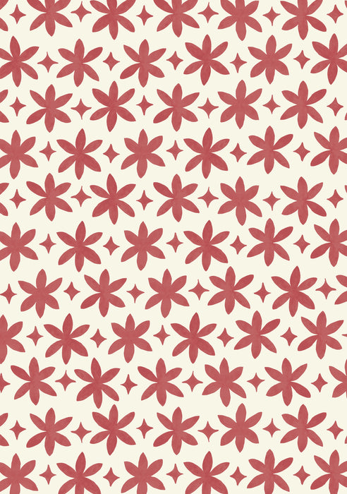 Paper Flower Wallpaper (Madder Red)