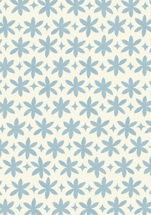 Paper Flower Wallpaper (Cerulean Blue)