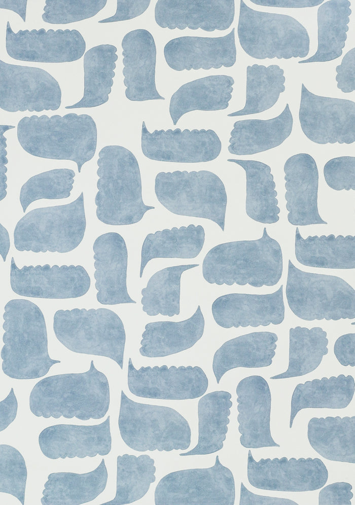 Chatty Wallpaper - Azurite Blue on Creamy White