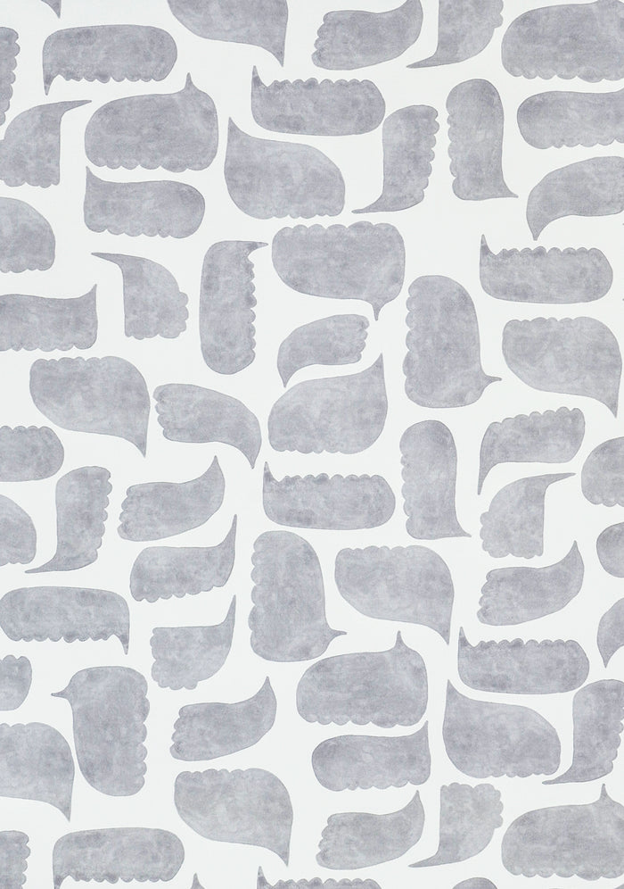 Chatty Wallpaper - Graphite Grey on Creamy White