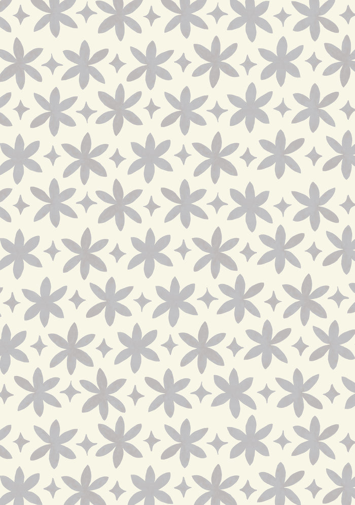 Paper Flower Wallpaper - Pale Graphite Grey on Creamy White