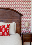 Metolius Madder Red Paper Flower Wallpaper Bedroom