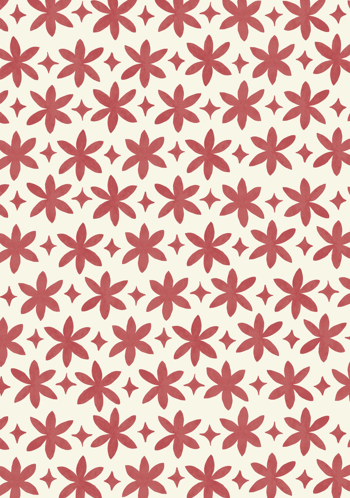 Paper Flower Wallpaper - Madder Red on Creamy White