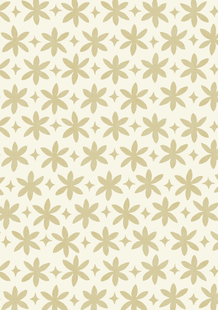 Paper Flower Wallpaper - Naples Yellow on Creamy White