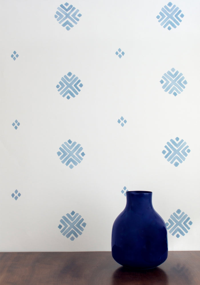 Dobby Wallpaper - Pale Azurite Blue on Creamy White