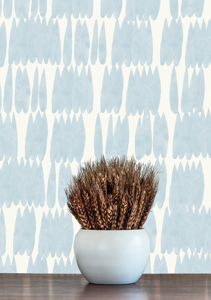 Drip Drop Wallpaper - Very Pale Cerulean on Creamy White