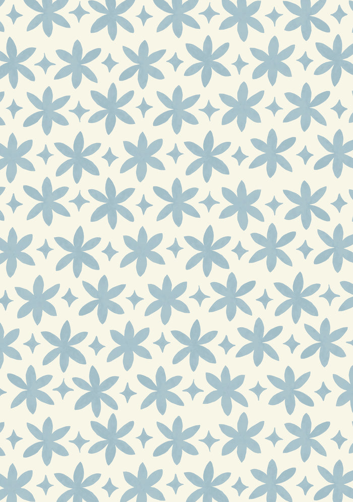 Paper Flower Wallpaper - Pale Cerulean on Creamy White
