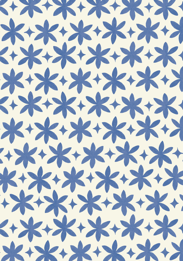 Paper Flower Wallpaper - Ultramarine Blue on Creamy White