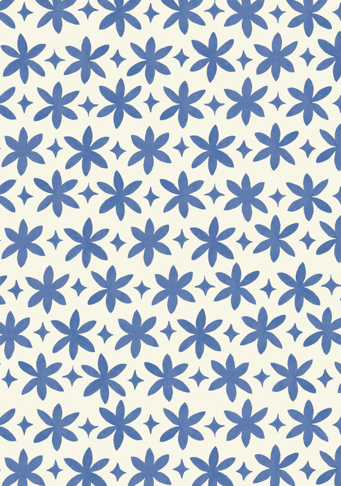 Metolius Ultramarine Blue Paper Flower Wallpaper Pattern