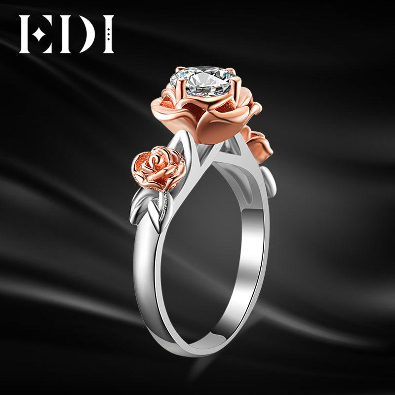 Natural Topaz Rose Flower Crystal Engagement Ring Beauty And The