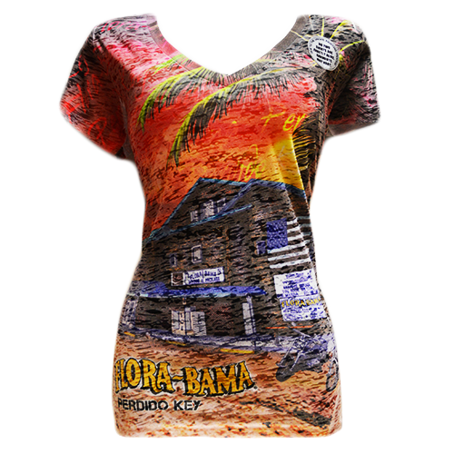 Flora-Bama Ladies Building Allover Sublimation Fitted V-Neck Tee