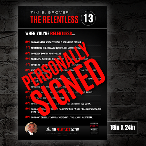 The Relentless 13 Poster - Personally Signed by Tim Grover