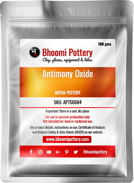 Artha Pottery Antimony Oxide 100 gms for sale in India - Bhoomi Pottery