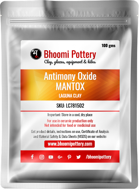 Laguna Clay Antimony Oxide MANTOX 100 gms for sale in India - Bhoomi Pottery