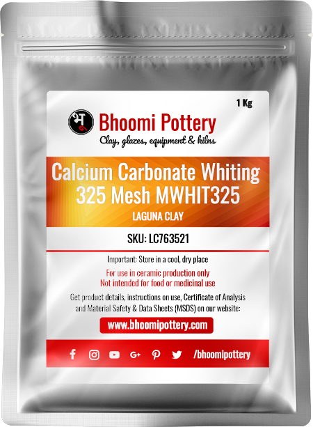 Laguna Clay Calcium Carbonate Whiting 325 Mesh MWHIT325 1 Kg for sale in India - Bhoomi Pottery