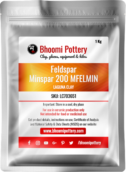 Laguna Clay Feldspar Minspar 200 Soda MFELMIN 1 Kg for sale in India - Bhoomi Pottery