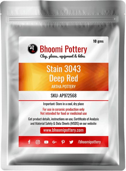 Artha Pottery Stain 3043 Deep Red 100 gms for sale in India - Bhoomi Pottery