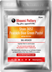 Artha Pottery Stain 3057 Peacok Blue Green Pastel 100 gms for sale in India - Bhoomi Pottery