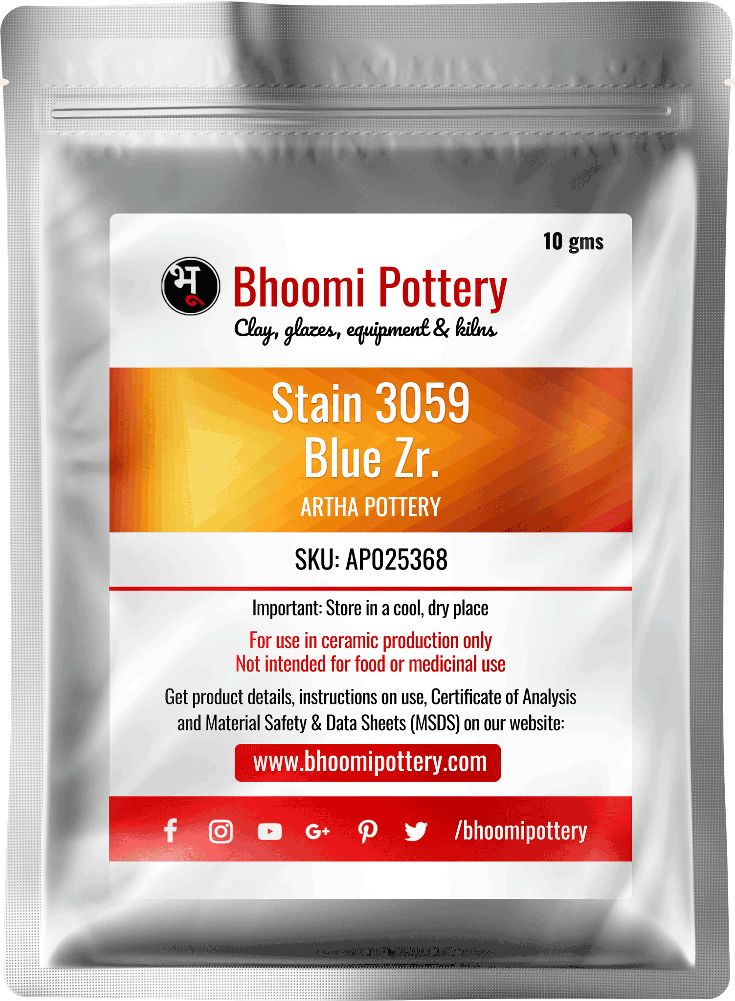 Artha Pottery Stain 3059 Blue Zr. 100 gms for sale India - Bhoomi Pottery