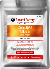 Artha Pottery Stain 3069 Yellow Zr. 100 gms for sale in India - Bhoomi Pottery