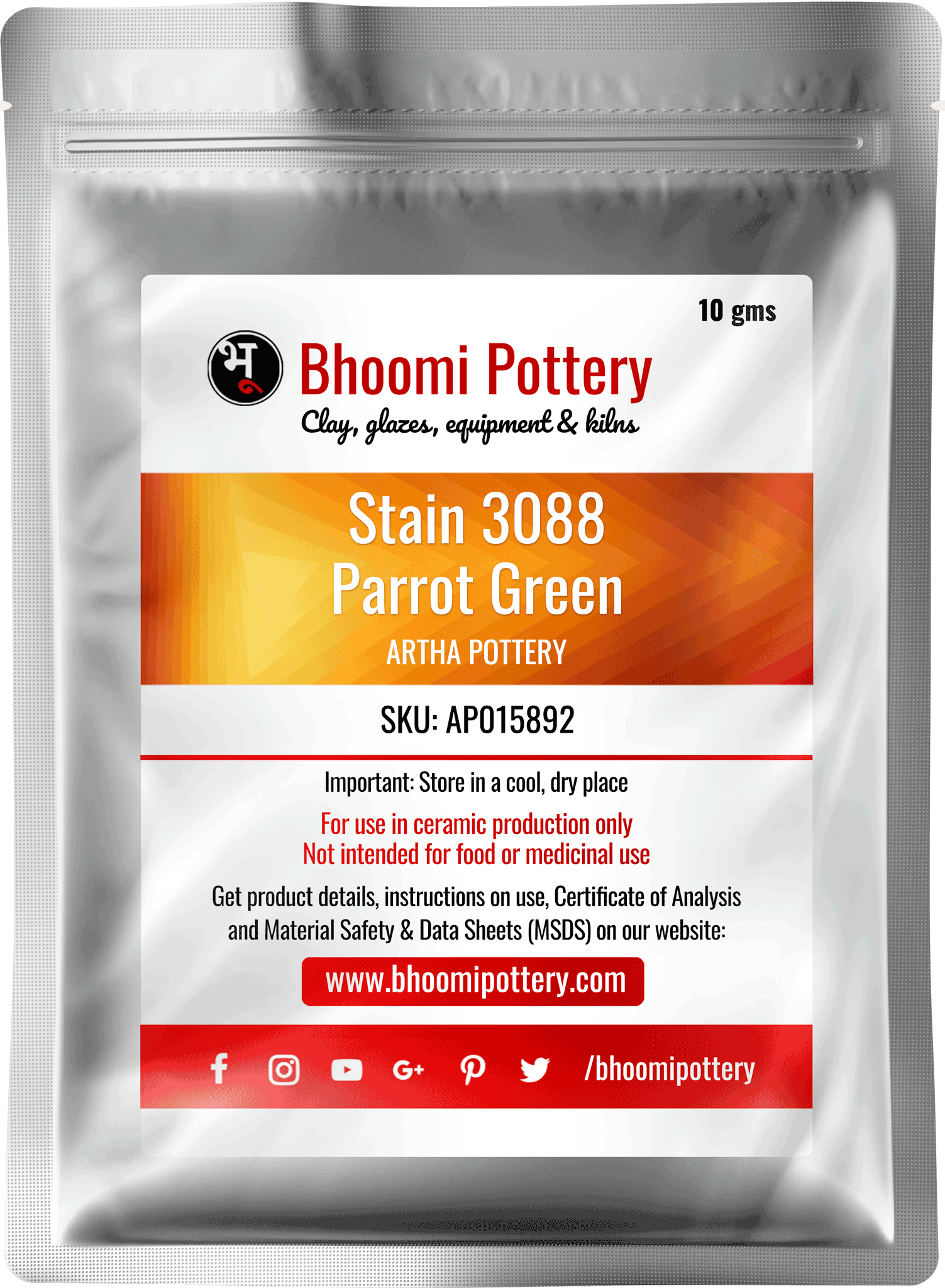 Artha Pottery Stain 3088 Parrot Green 100 gms for sale in India - Bhoomi Pottery