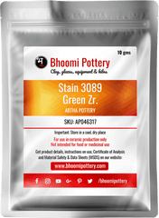 Artha Pottery Stain 3089 Green Zr. 100 gms for sale in India - Bhoomi Pottery