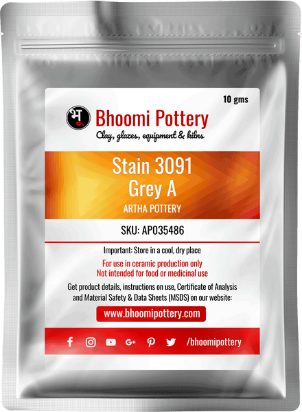 Artha Pottery Stain 3091 Grey A 100 gms for sale in India - Bhoomi Pottery