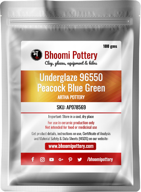 Artha Pottery Underglaze 96550 Peacock Blue Green 100 gms for sale in India - Bhoomi Pottery