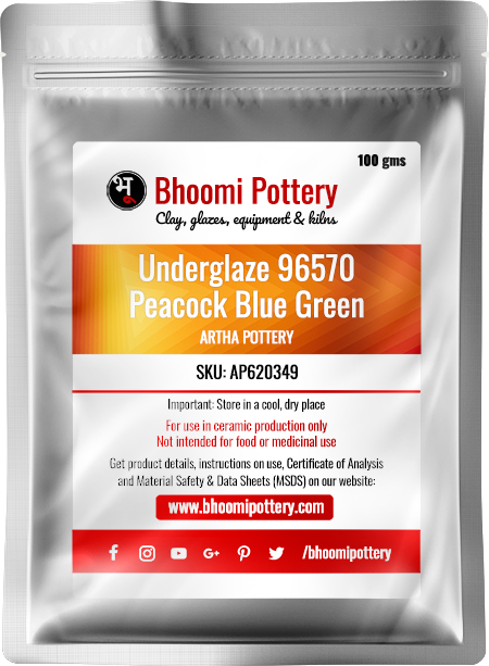 Artha Pottery Underglaze 96570 Peacock Blue Green 100 gms for sale in India - Bhoomi Pottery