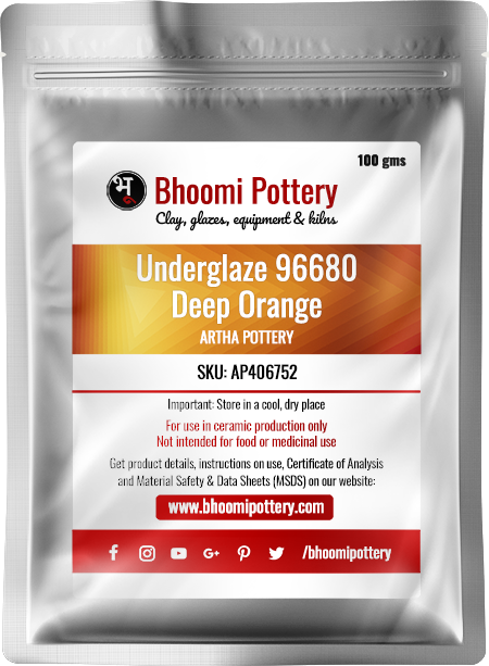 Artha Pottery Underglaze 96680 Deep Orange 100 gms for sale in India - Bhoomi Pottery