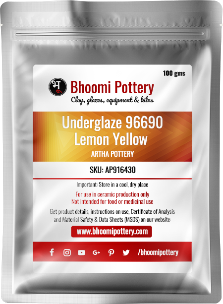 Artha Pottery Underglaze 96690 Lemon Yellow 100 gms for sale in India - Bhoomi Pottery