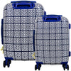 Geo Print Hard Sided 2 Piece Luggage Set, Blue, 29 and 21 inch Luggage