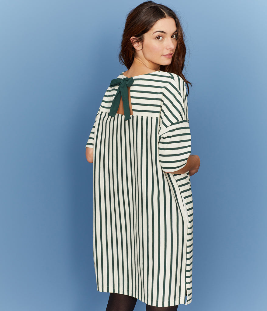 Petit Bateau Women's Stripe Heavy Jersey Dress with Bow