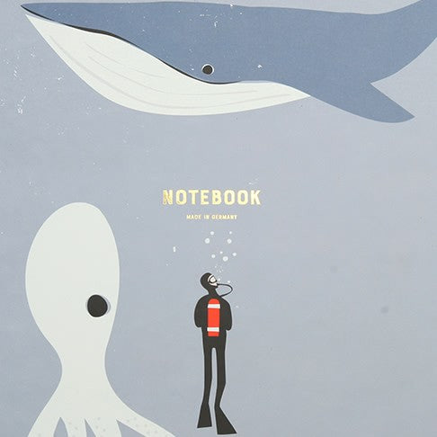 Pleased To Meet A4 Diver, Whale and Octopus Recycled Paper Notebook