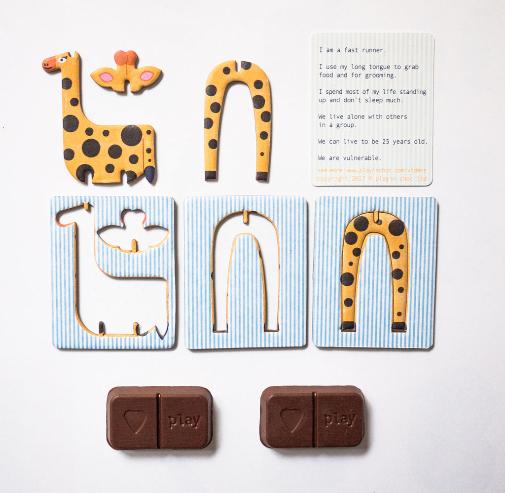 Playin Choc 5-Pack Organic Dairy Free Endangered Animals ToyChoc Box