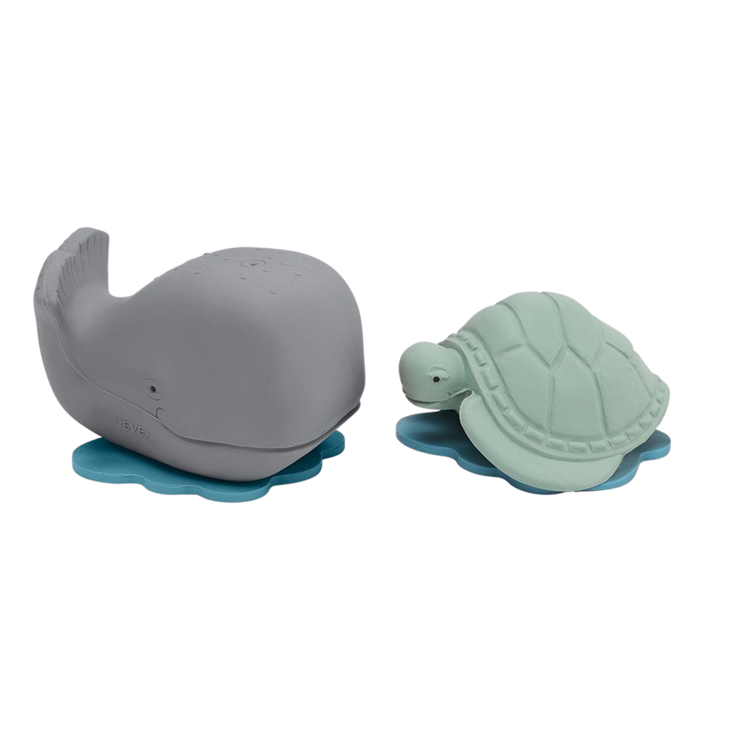 Hevea Ingolf The Whale & Dagmar The Turtle Natural Rubber Bath Toy Set